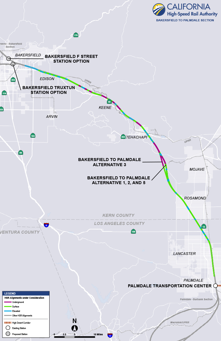 Bakersfield to Palmdale Project Section Map